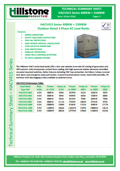 AC Load Banks for UPS & Genset testing and datacentre IST